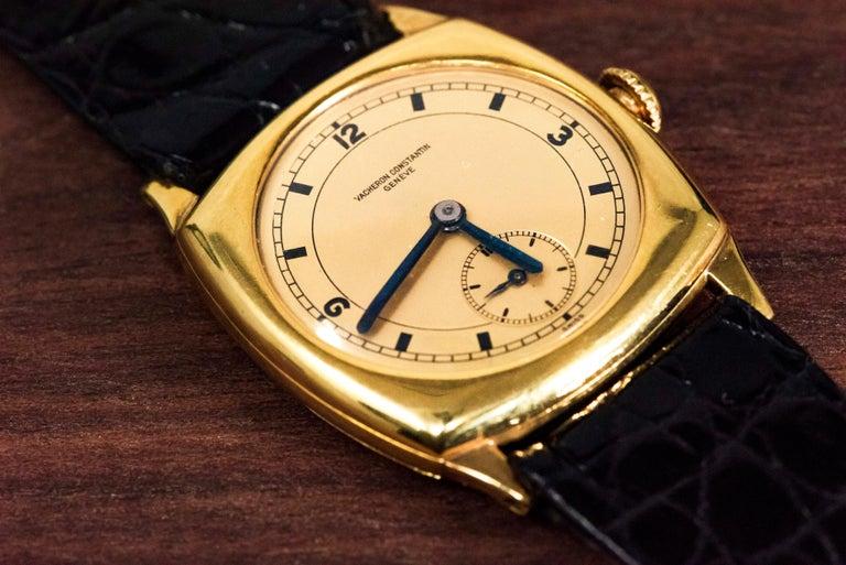 Post-War 18 Karat Yellow Gold Vacheron Constantin Sector Dial Officers Cushion Wristwatch For Sale
