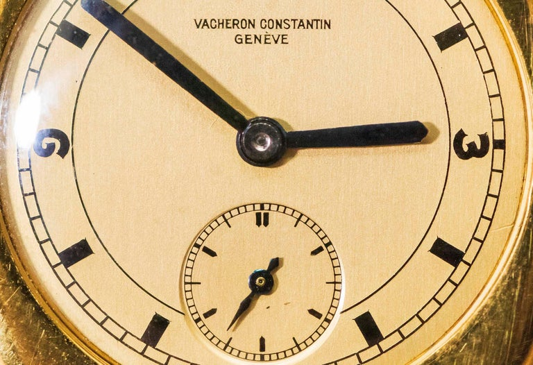 18 Karat Yellow Gold Vacheron Constantin Sector Dial Officers Cushion Wristwatch In Excellent Condition For Sale In New york, NY