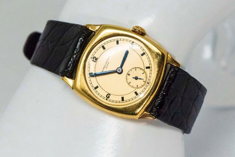 Women's or Men's 18 Karat Yellow Gold Vacheron Constantin Sector Dial Officers Cushion Wristwatch For Sale