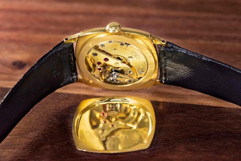 18 Karat Yellow Gold Vacheron Constantin Sector Dial Officers Cushion Wristwatch For Sale 1