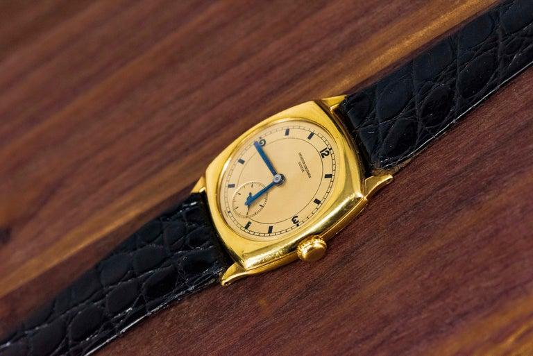 18 Karat Yellow Gold Vacheron Constantin Sector Dial Officers Cushion Wristwatch For Sale 2
