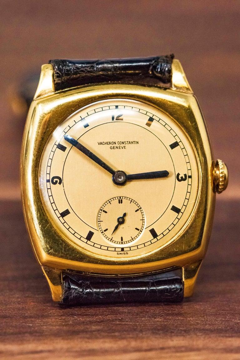18 Karat Yellow Gold Vacheron Constantin Sector Dial Officers Cushion Wristwatch For Sale 3