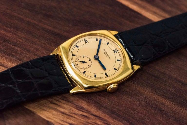 18 Karat Yellow Gold Vacheron Constantin Sector Dial Officers Cushion Wristwatch For Sale 4