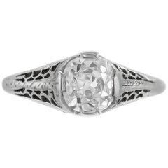 1920s-1930s Beautiful Filigree with One Round Diamond Engagement Ring