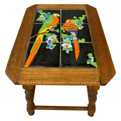 1920s-1930s Catalina Tile Mission Table with Parrots