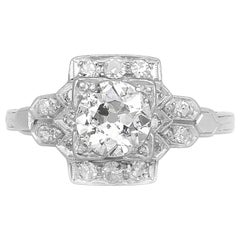1920s-1930s Center Round Diamond Engagement Ring