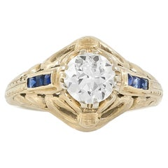 1920s-1930s Engagement Ring with 0.90 Carat Diamond