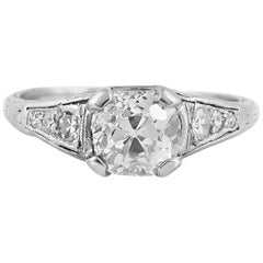 1920s-1930s Filigree with 1.80 Round Diamond Engagement Ring