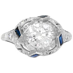 1920s-1930s Filigree with Diamond and Sapphire Engagement Ring