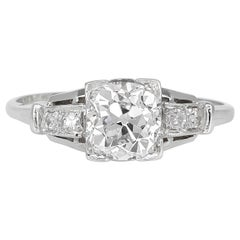 1920s-1930s GIA Platinum with Diamond Engagement Ring