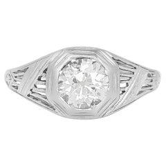1920s-1930s Platinum Engagement Ring with 1.00 Carat Diamond