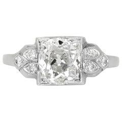 1920s-1930s Platinum Engagement Ring with 1.74 Carat Round Diamond