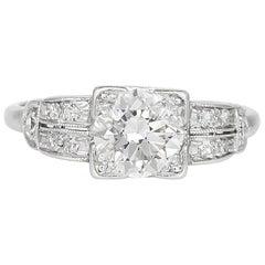 1920s-1930s Platinum Filigree 1.10 Carat Center Diamond Engagement Ring