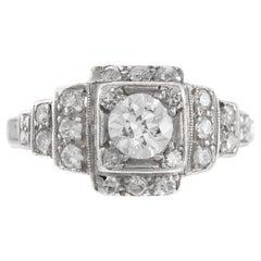 1920s-1930s Platinum with 0.75 Center Diamond Carat Engagement Ring