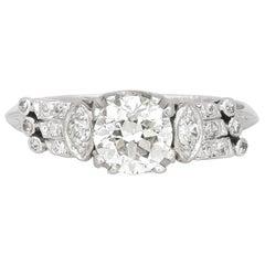 1920s-1930s Platinum with 1.00 Carat Round Engagement Ring