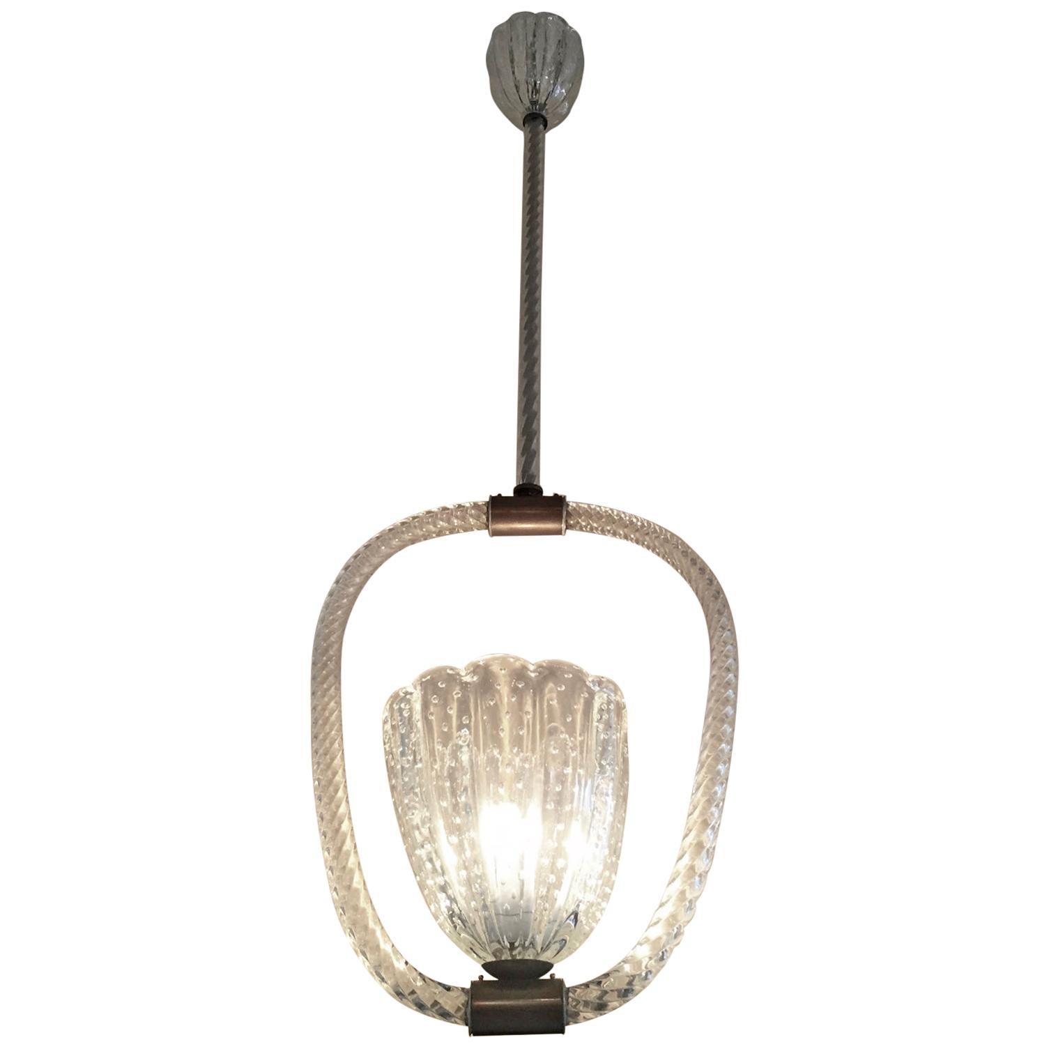 1920s-1940s Barovier Murano Glass Pendant Light