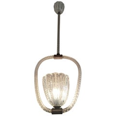 1920s-1940s Barovier Murano Glass Pendant Light
