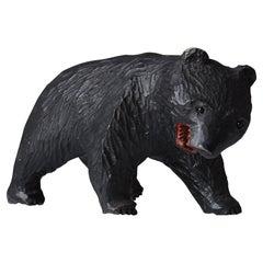 1920s-1950s Japanese Folk Art Wooden Bear / Contemporary Art Wabisabi Sculpture