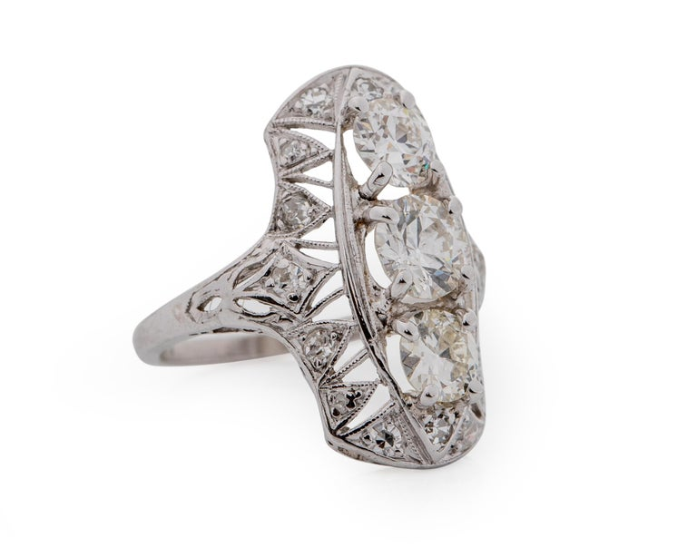 Item Details: Metal type: Platinum Weight: 4.48 grams Size: 5 approximately (Resizable to any size)  Center Diamond Details: Color: G-H Clarity: VS-SI Carat: .75 Carat Cut: Old European Cut  Top & Bottom Diamond Details: Color: G-H Clarity: