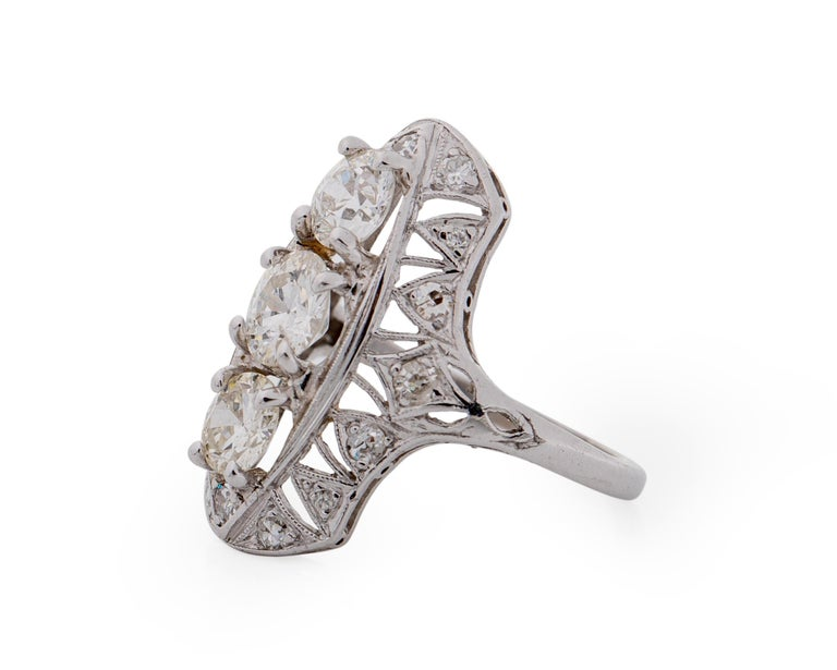 1920s 2 Carat Total 3-Stone Old European Diamond Platinum Ring In Excellent Condition For Sale In Hicksville, NY