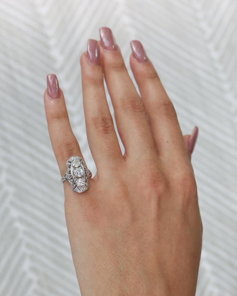 Women's or Men's 1920s 2 Carat Total 3-Stone Old European Diamond Platinum Ring For Sale