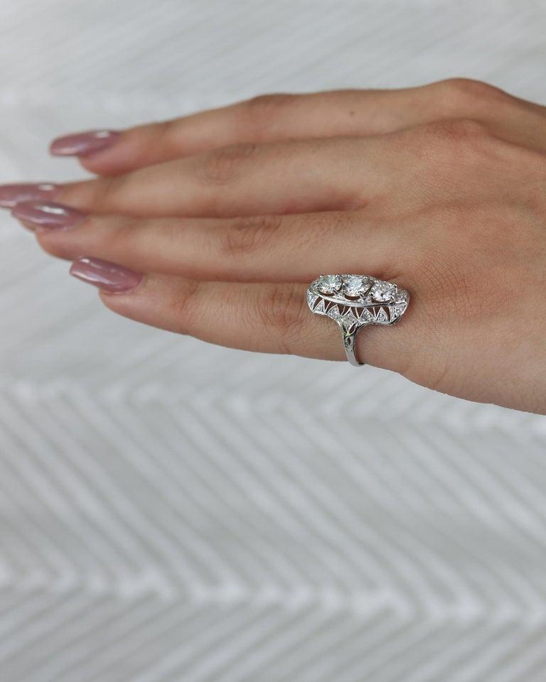 1920s 2 Carat Total 3-Stone Old European Diamond Platinum Ring For Sale 2