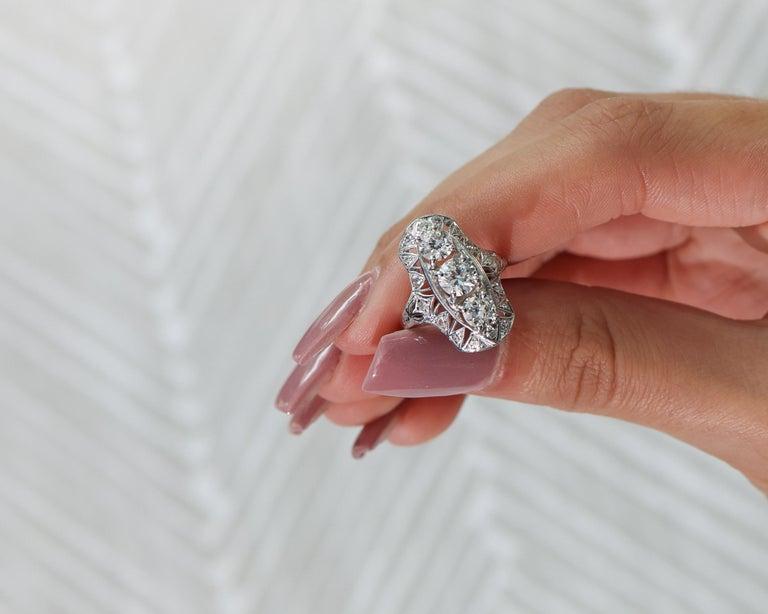 1920s 2 Carat Total 3-Stone Old European Diamond Platinum Ring For Sale 3