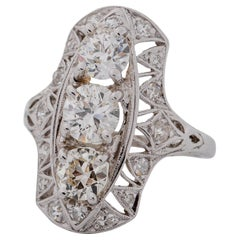 1920s 2 Carat Total 3-Stone Old European Diamond Platinum Ring