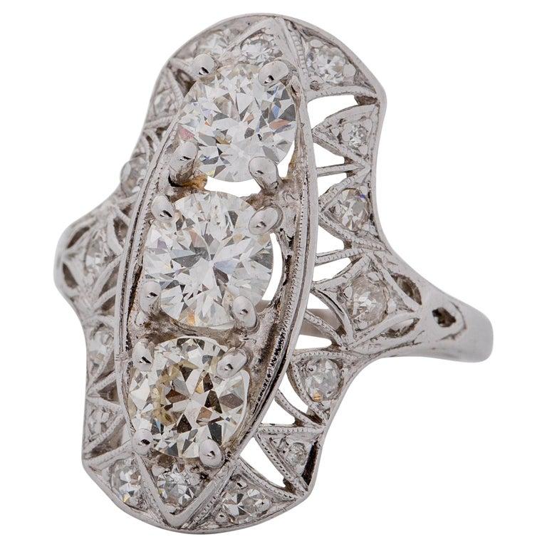 1920s 2 Carat Total 3-Stone Old European Diamond Platinum Ring For Sale
