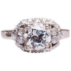 1920s 2 Carat Total Old European Diamond Platinum Engagement Ring