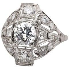 1920s 2.09 Carat Total Platinum Diamond Engagement Ring