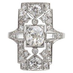 1920s 2.40 Carat Total Diamond Engagement Shield Ring in Platinum