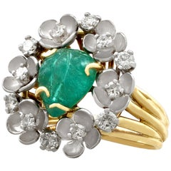 1920s 2.42 Carat Emerald Diamond Gold Cocktail Cluster Ring