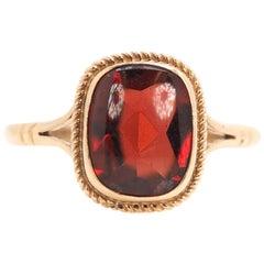 1920s 2.5 Carat Cushion Cut Stone, 9 Karat Yellow Gold Ring