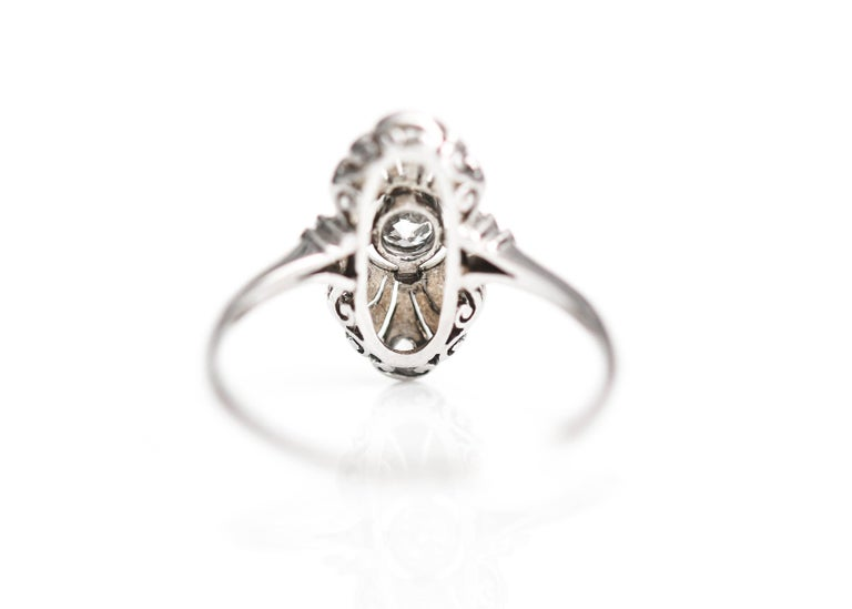 Art Deco 1920s .25 Carat Old European Diamond Engagement Ring, Platinum, 18k White Gold For Sale