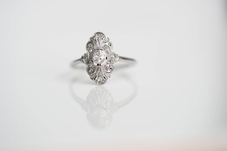 1920s .25 Carat Old European Diamond Engagement Ring, Platinum, 18k White Gold In Good Condition For Sale In New York, NY