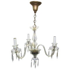 1920s 3-Arm Petite Crystal and Glass Powder Room Chandelier
