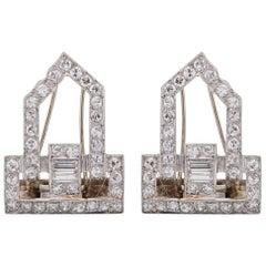 1920s 3 Carat Total Diamond Platinum Fur Clips