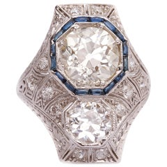 1920s 4.15 Carat Total Old Mine Diamond and Sapphire Engagement Ring