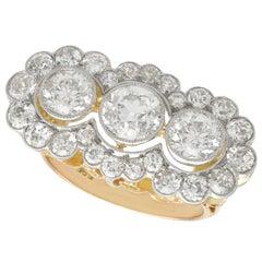1920s 4.59 Carat Diamond Yellow Gold Platinum Set Cluster Ring