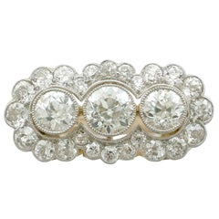 1920s 4.59 Carat Diamond Yellow Gold Platinum Set Cluster Ring