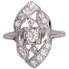 1920s .5 Carat Diamond Shield Ring, 14 Karat Gold