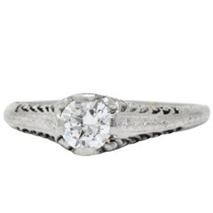 Art Deco 0.50 CTW Transitional Cut Diamond Platinum Engagement Ring