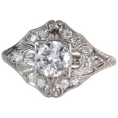 1920s .98 Carat Total Old European Diamond Platinum Engagement Ring