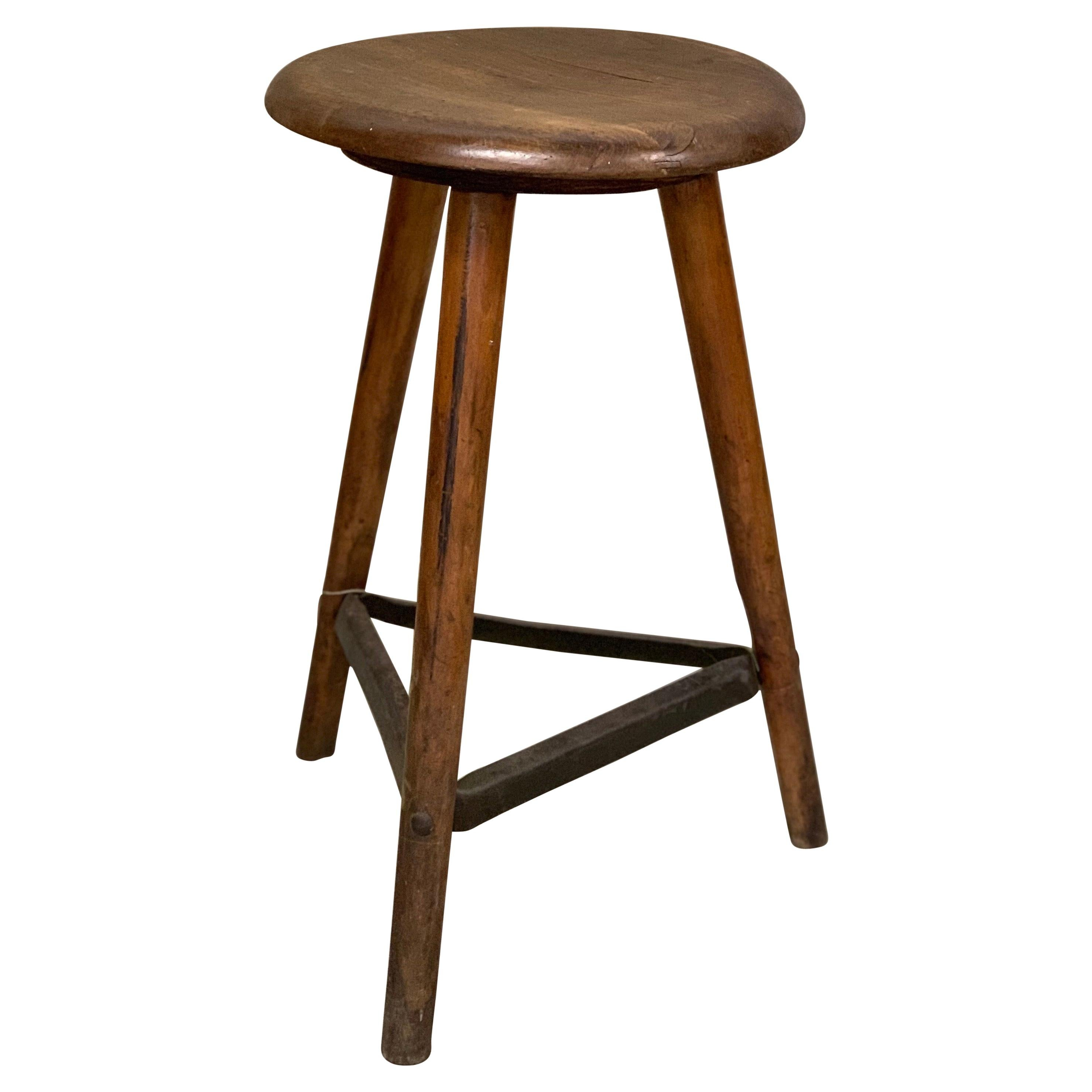 1920's Ama Wooden Industrial Stool