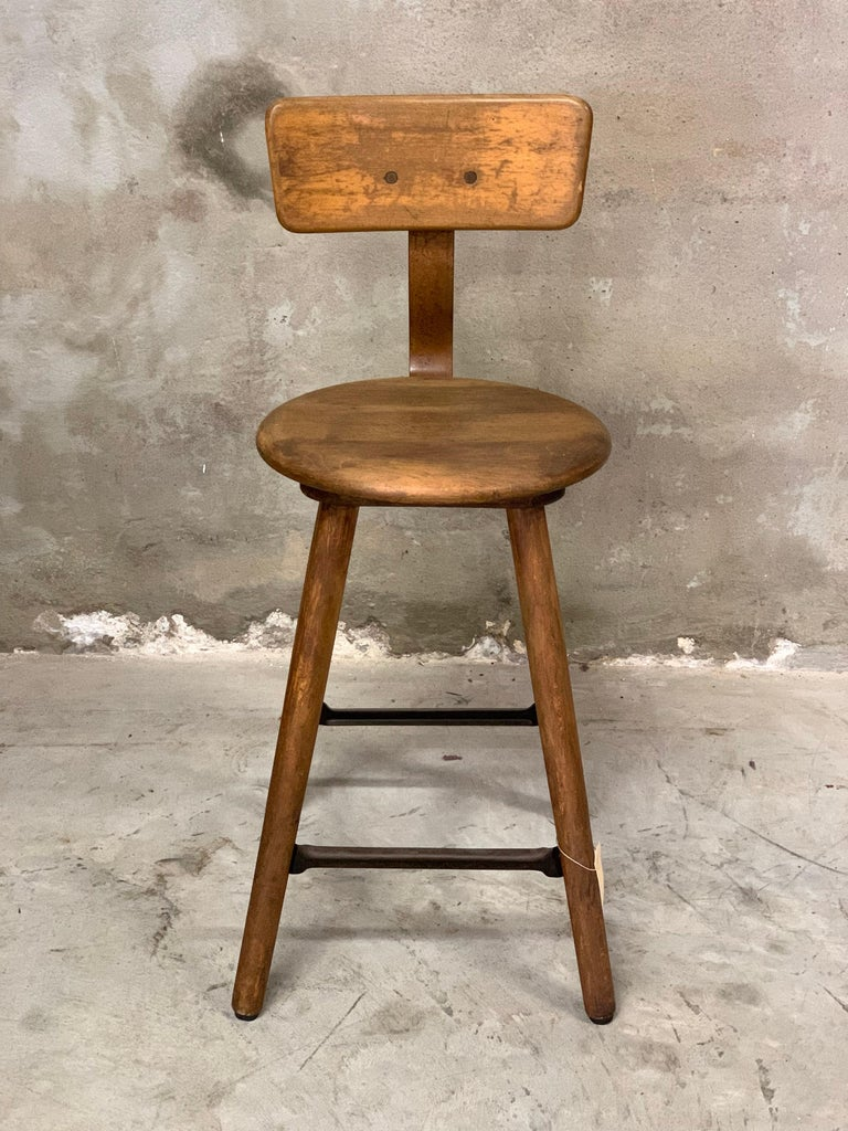 Early 20th Century 1920s Ama Wooden Stool with Metal Frame, Industrial For Sale