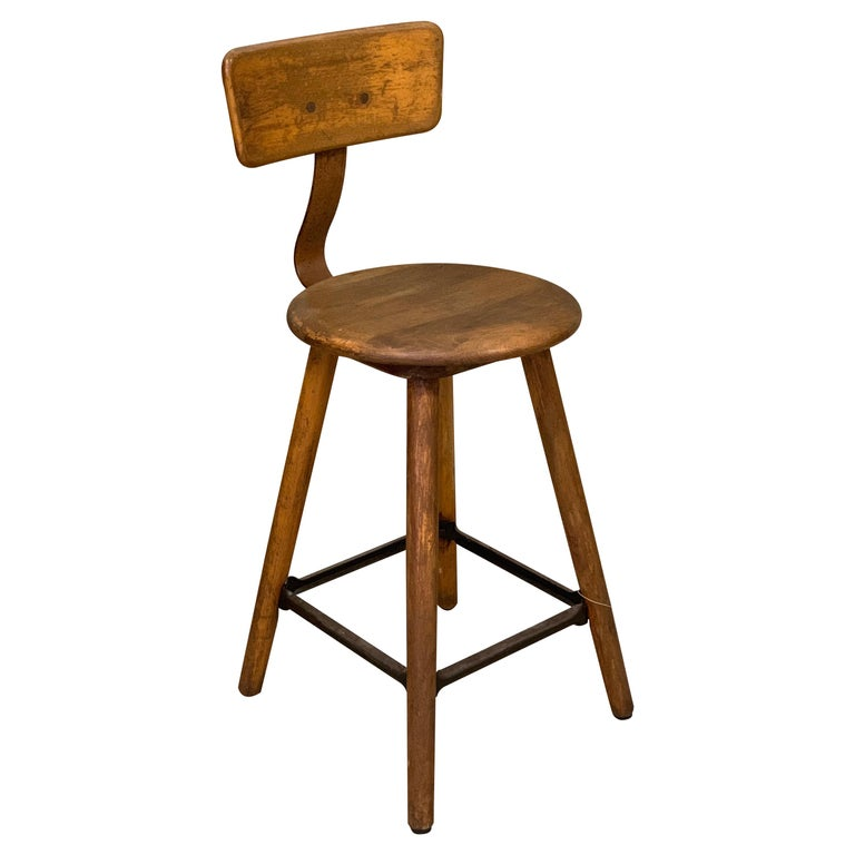 1920s Ama Wooden Stool with Metal Frame, Industrial For Sale