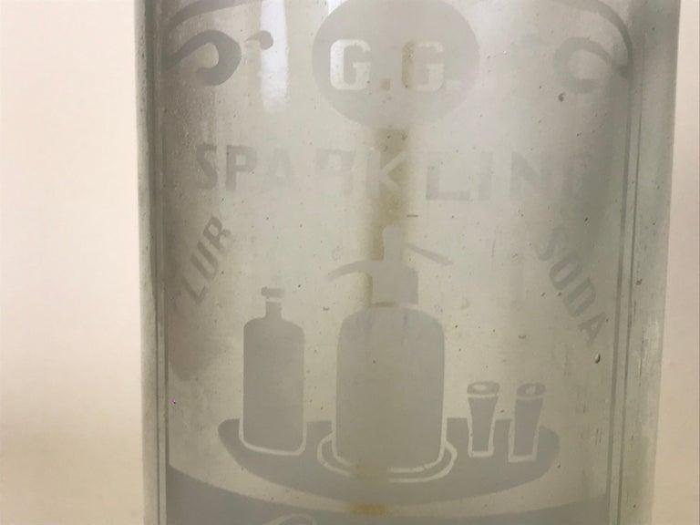 Metal 1920s American Advertising Glass Syphon Coca-Cola Acid Etched Bar Bottle Seltzer For Sale