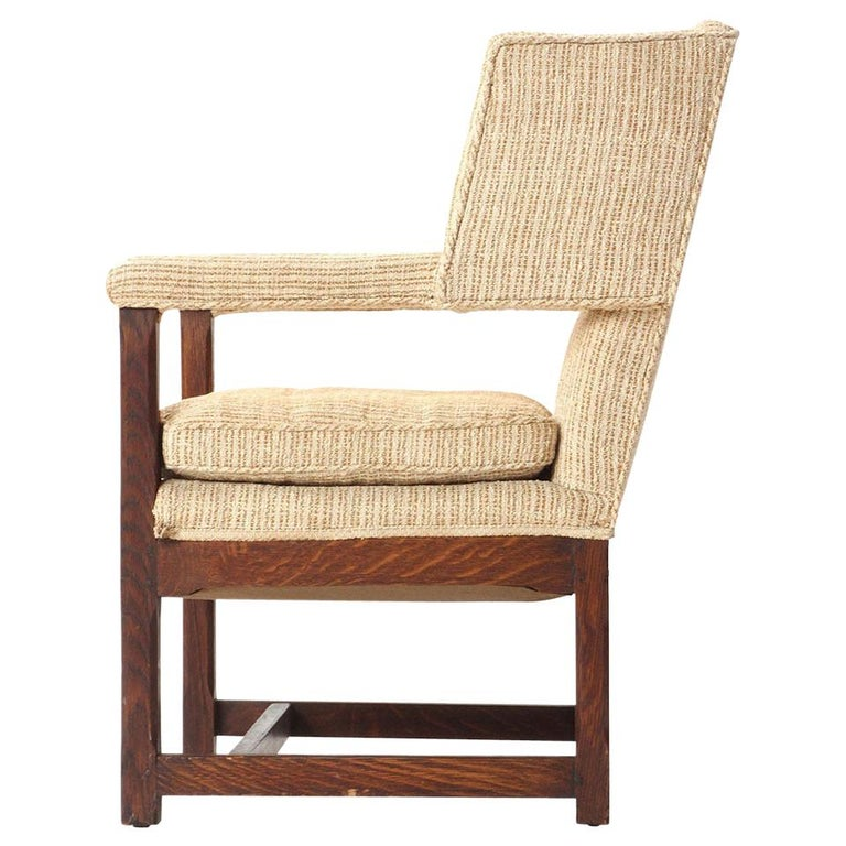 1920s American Arts & Crafts Upholstered Oak Wingback Chair For Sale