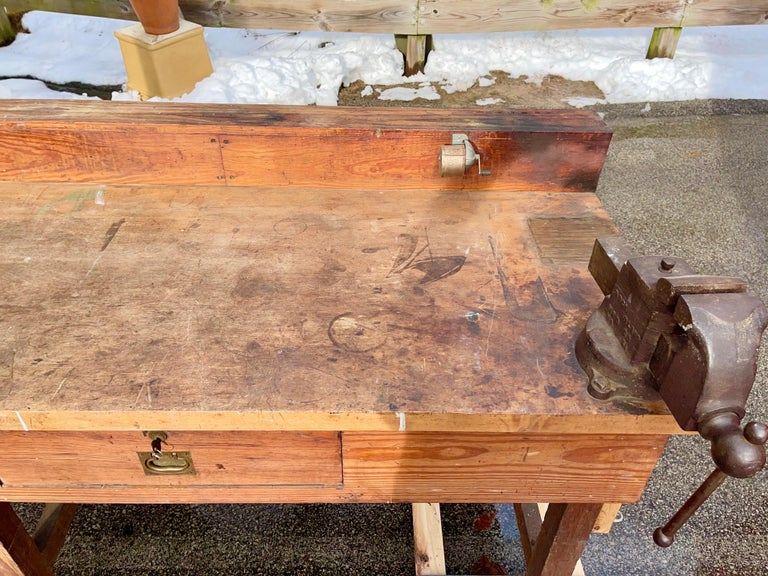 1920s American Built Workshop Table For Sale 9
